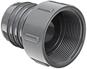 "Spears 1435 Series PVC Tube Fitting, Adapter, Schedule 40, Gray, 1-1/4"" Barbed x NPT Female"