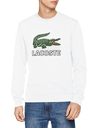 45ac137eb6 Lacoste SH6382 Sweat-Shirt Homme Blanc (Blanc 001) X-Small (Taille