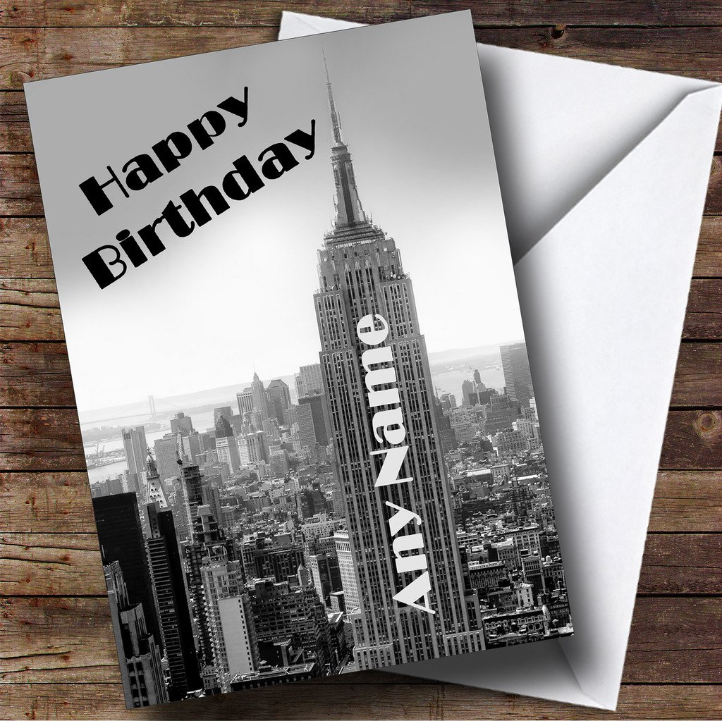 New York Empire State Building Personalised Birthday Card Amazon