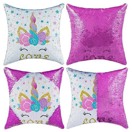 Tumao Funda cojín Unicornio, Magic Sequin Cushion Reversible Funda de Almohada Doble Color Piel de Venado en la Espalda 40 * 40 cm Sofá Decoración del ...