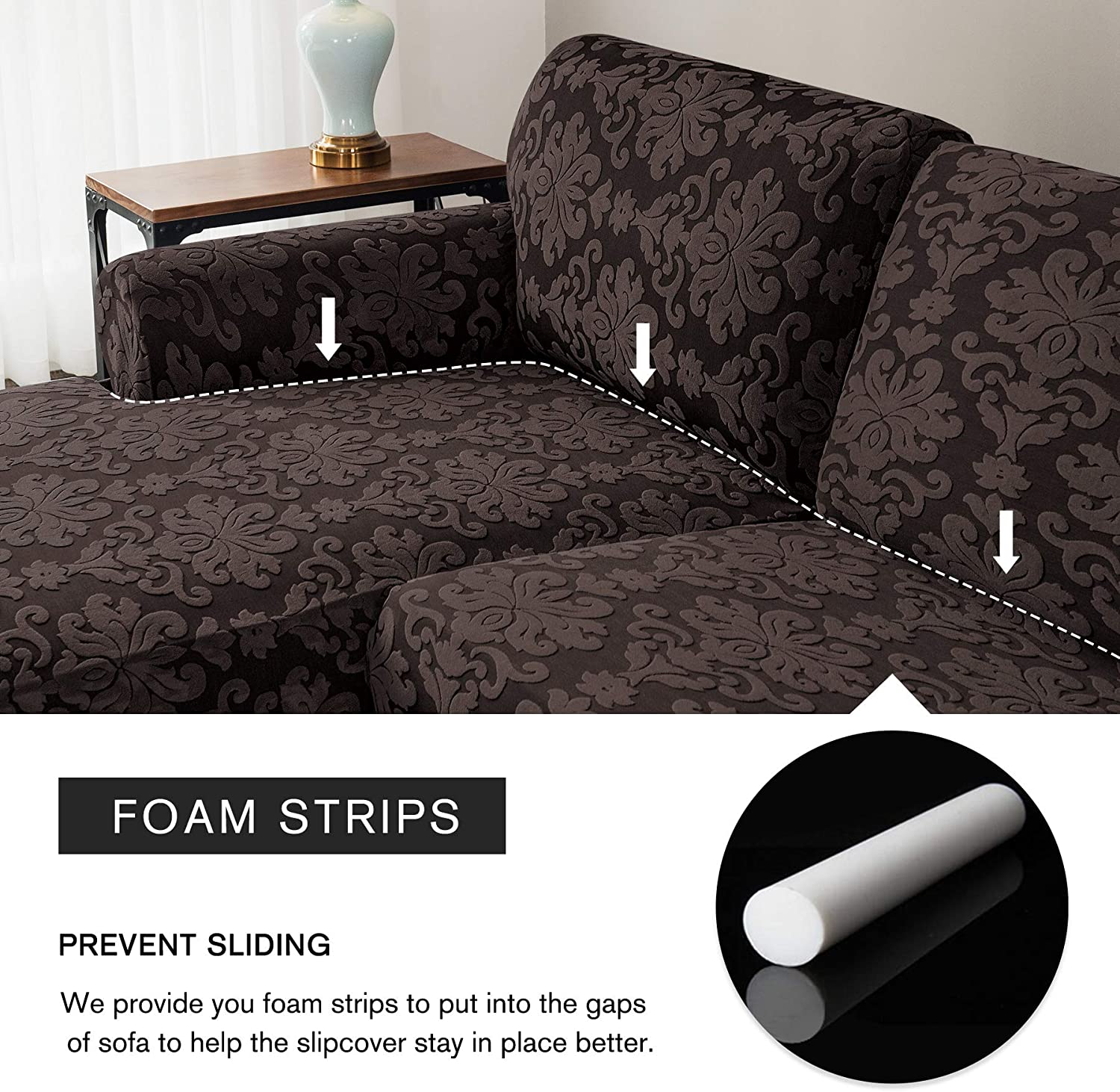 Left Chaise, Chocolate CHUN YI Floral L-Shaped Sofa Cover Couch Covers Jacquard Polyester Stretch Fabric Sectional Sofa Slipcovers Corner Sofa Cover