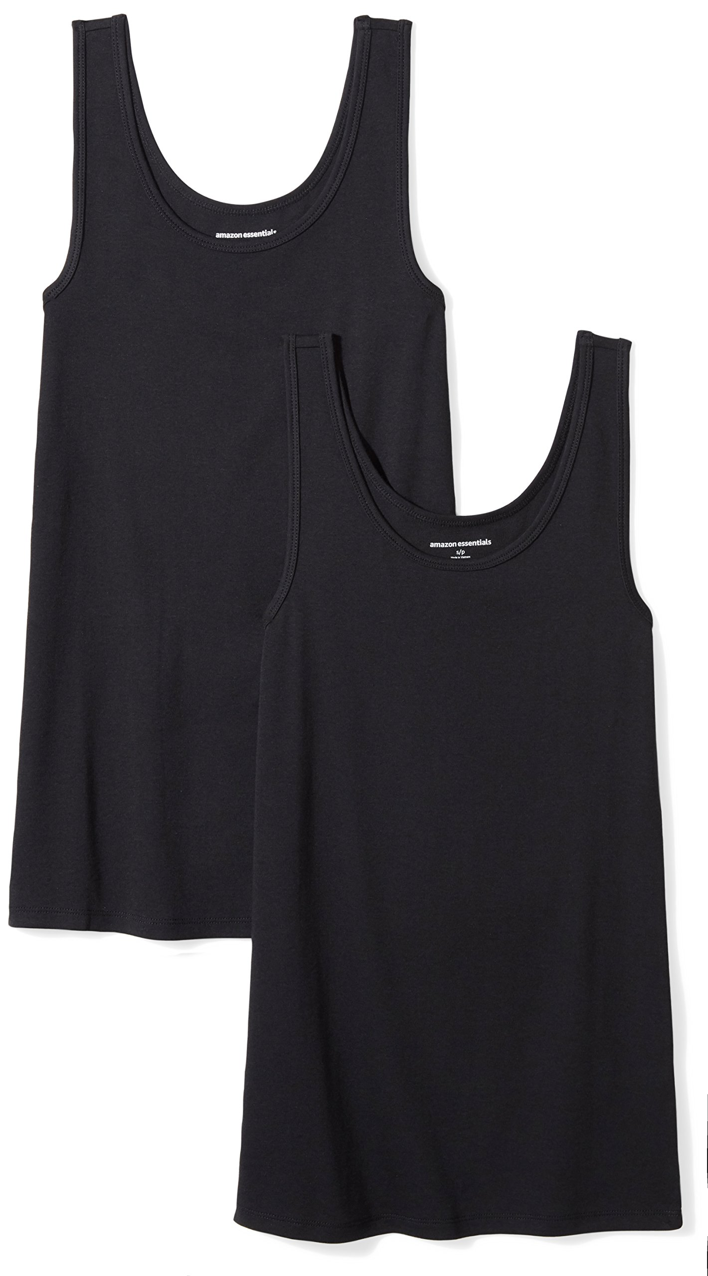 Amazon Essentials Women's 2-Pack Tank, Black, Medium