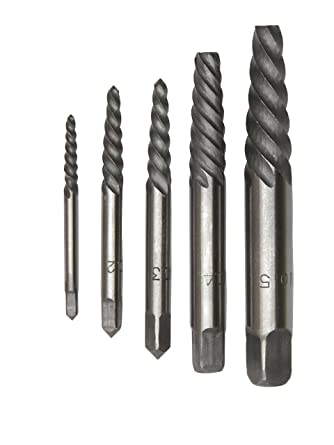 Drill America 5 Piece Carbon Steel Screw Drill Bit Extractor Set with  5-Extractors, Sizes #1 - #5, DEWEZ Series