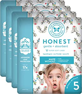 The Honest Company Baby Diapers with True Absorb Technology, Hey Rudolph, Size 5, 80 Count