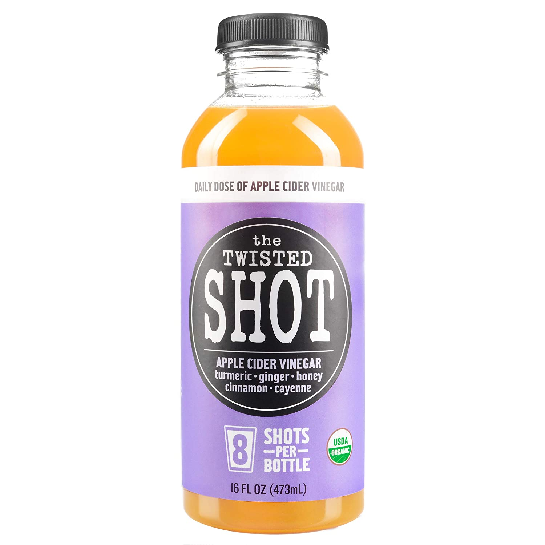 The Twisted Shot   Organic Apple Cider Vinegar Shots with Turmeric, Ginger, Cinnamon, Honey & Cayenne   Immunity Boost   Wellness   Digestive Aid   Improve Metabolism   Detox   16oz Bottle