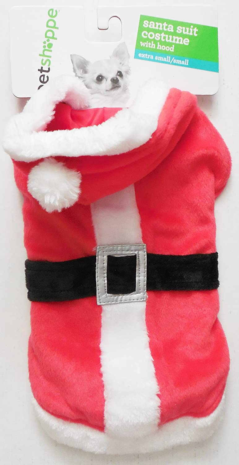 Holiday Santa Suit  Coat Costume With Hood Extra Small  Small Dog