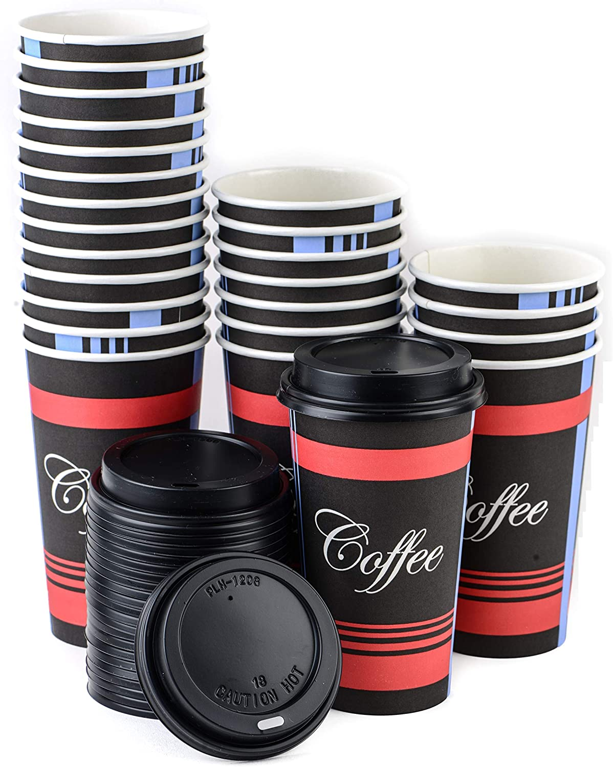 Extra Large 20 oz 150 Count by EcoQuality - Classic Durable Disposable Paper Cups & Black Dome Lids For Hot/Cold Drink, Coffee, Tea, Cocoa, Travel - 20 Ounce Cups, 150 Count Cups & 150 Black Lids