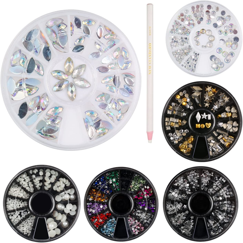 Decoraciones de Arte de Uñas 3D, 6 Cajas de Diamantes Brillantes de Cristales Gemas Coloridas con Lápiz de Selección de Diamantes