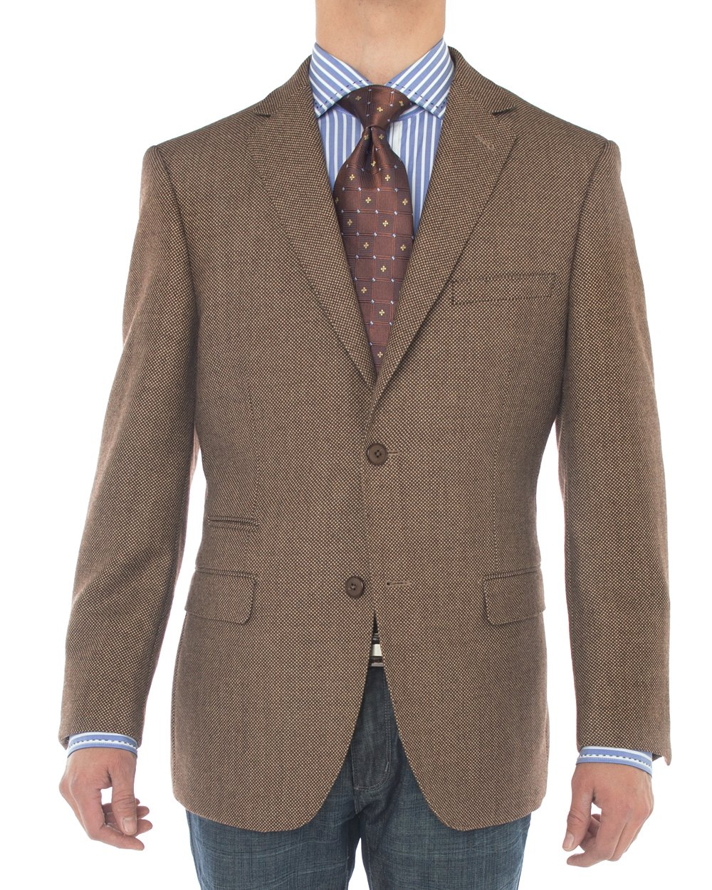Luciano Natazzi Mens 2 Button 160'S Wool Blazer Working Button Holes Suit Jacket (44 Long US / 54 Long EU, Brown) by Luciano Natazzi