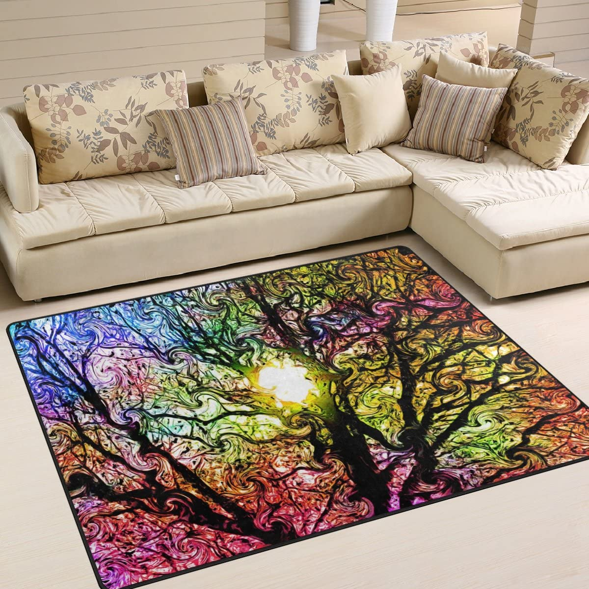 IMOBABY Art Tree Area Rugs for Living Room Bedroom 4 x5 , Kids Children Carpet Rug Non-Slip Floor Mat Resting Area Doormats