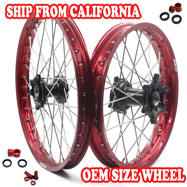 KKE HONDA MX CNC Wheel 21/19 CRF450R 02-12 CRF250R 04-13 Black Hub Red Rim