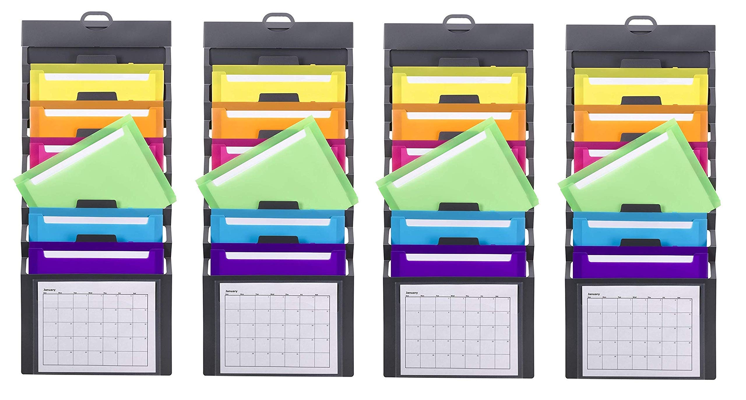 Smead Cascading Wall Organizer, 6 Pockets, Letter Size, Gray/Bright Pockets, Sold as 4 Pack (92060) by Smead