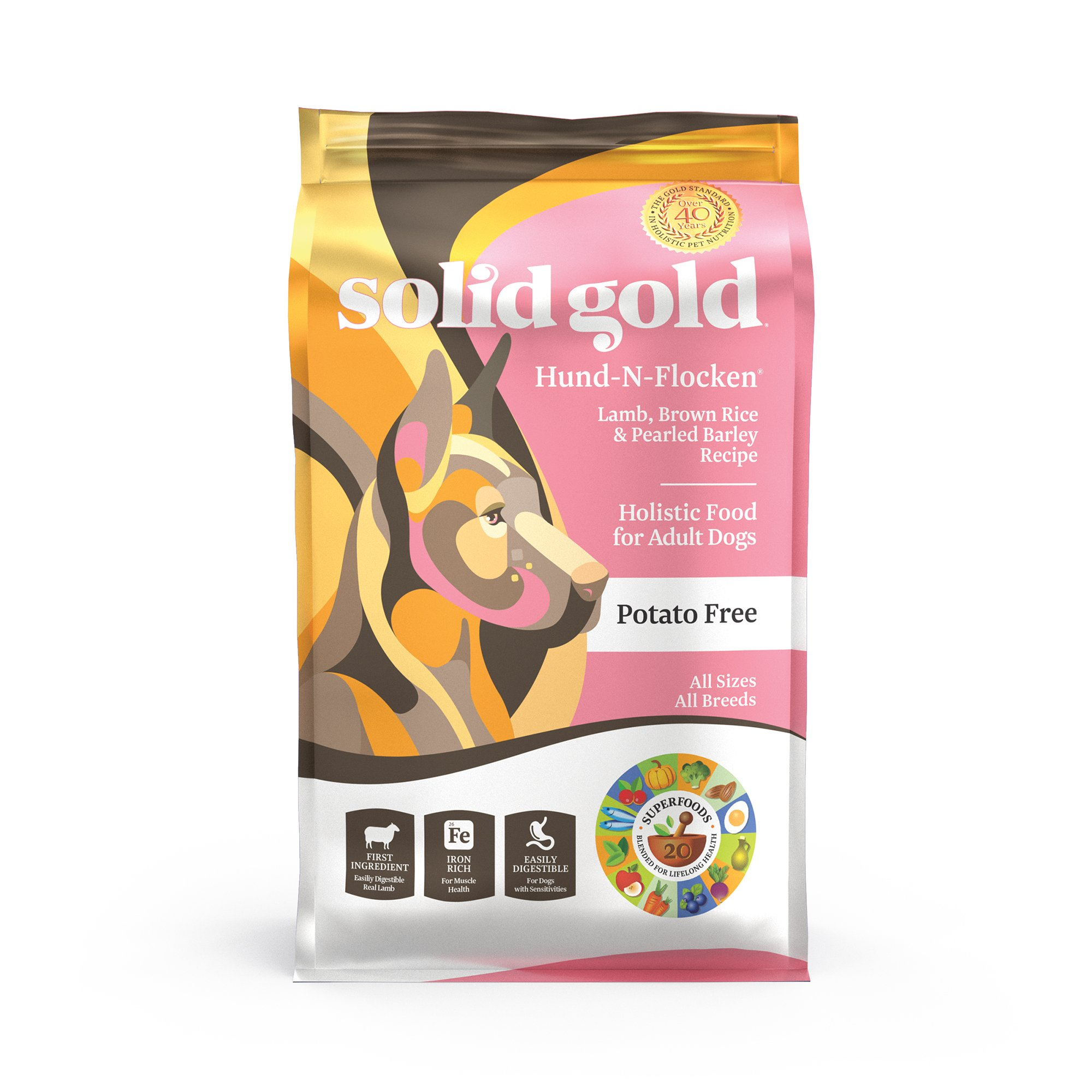 Solid Gold Dry Dog Food; Hund-N-Flocken with Real Lamb, Brown Rice & Barley; 28.5lb