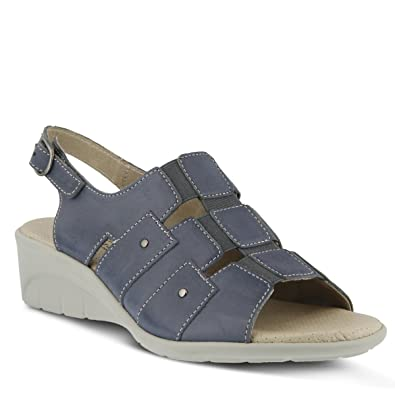 Womens Spring Step Danner Wedge Sandal Blue Leather