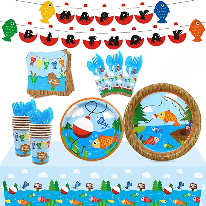 Camping Party Fish Garland Nautical Birthday Camping Garland Bobber Garland Under the Sea Party Fishing Party Garland