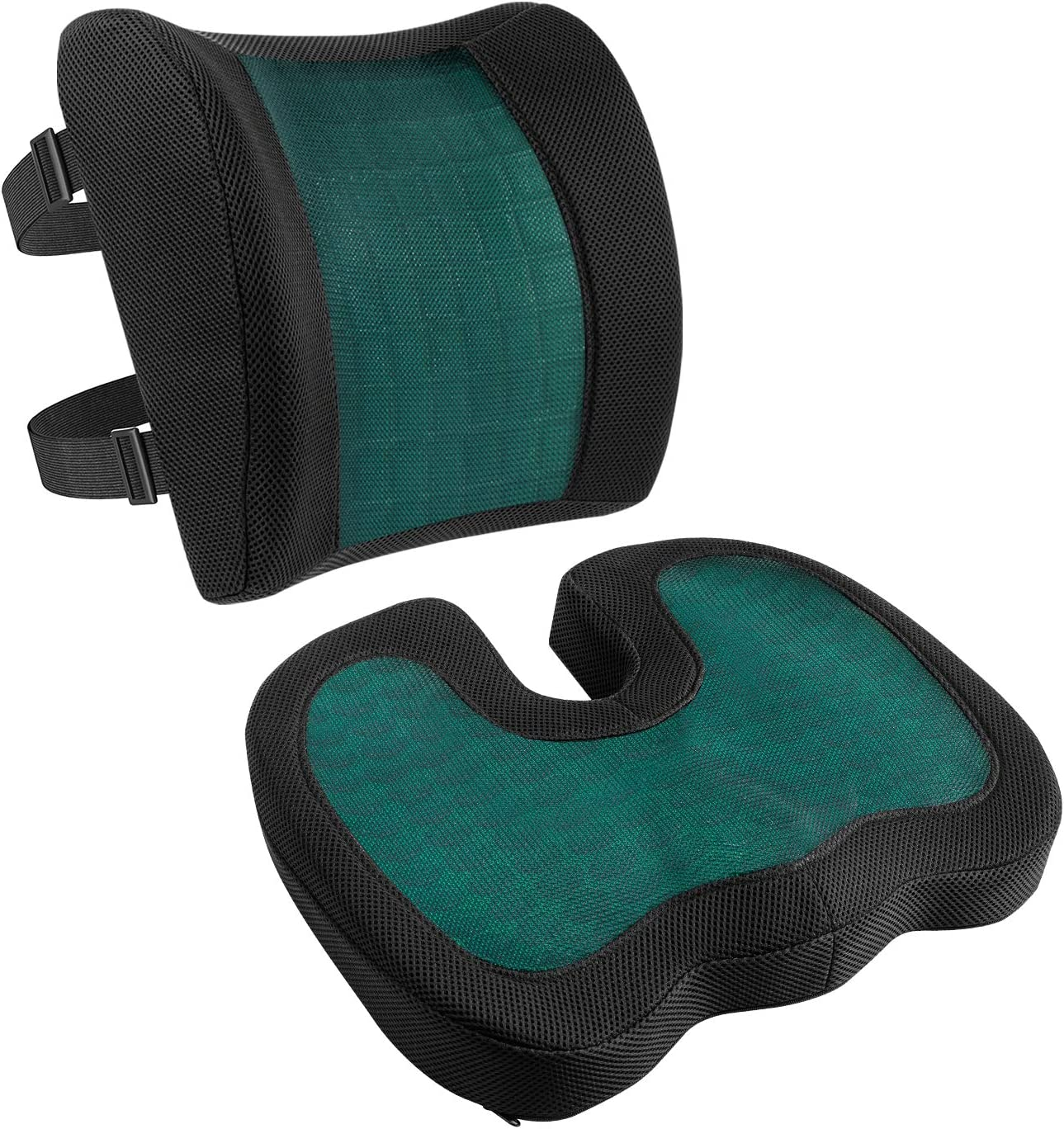 Amazon Basics Juego de 2 cojines con apoyo lumbar, espuma viscoelástica con gel refrescante, color negro