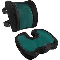 Amazon Basics - Cojín de asiento y cojín lumbar, espuma viscoelástica con gel…