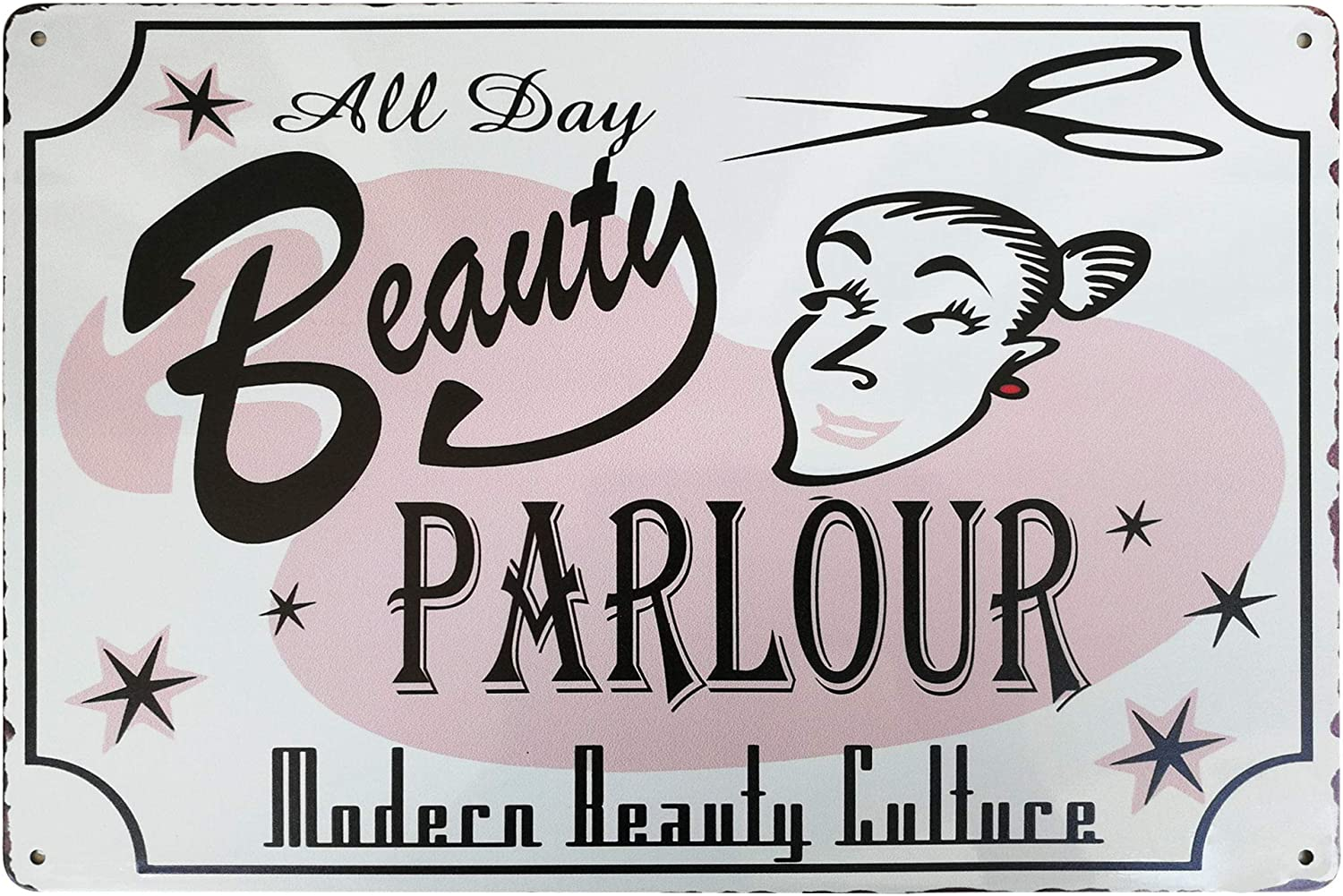 PXIYOU Funny Beauty Parlor All Day Retro Vintage Metal Sign Barber Salon Shampoo Shop Country Home Decor 8X12Inch