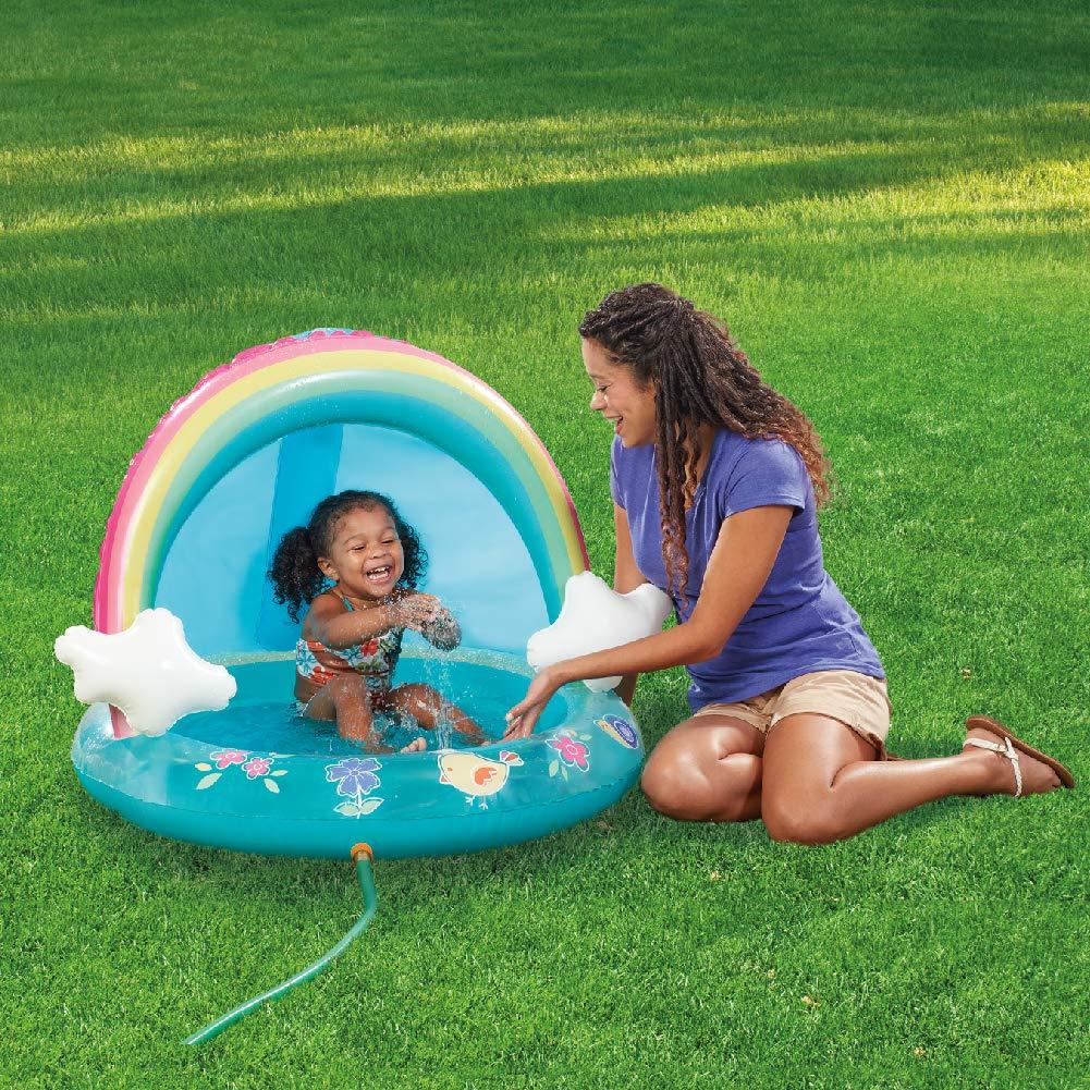 HIWENA Baby Pool, Rainbow Splash Pool with Canopy