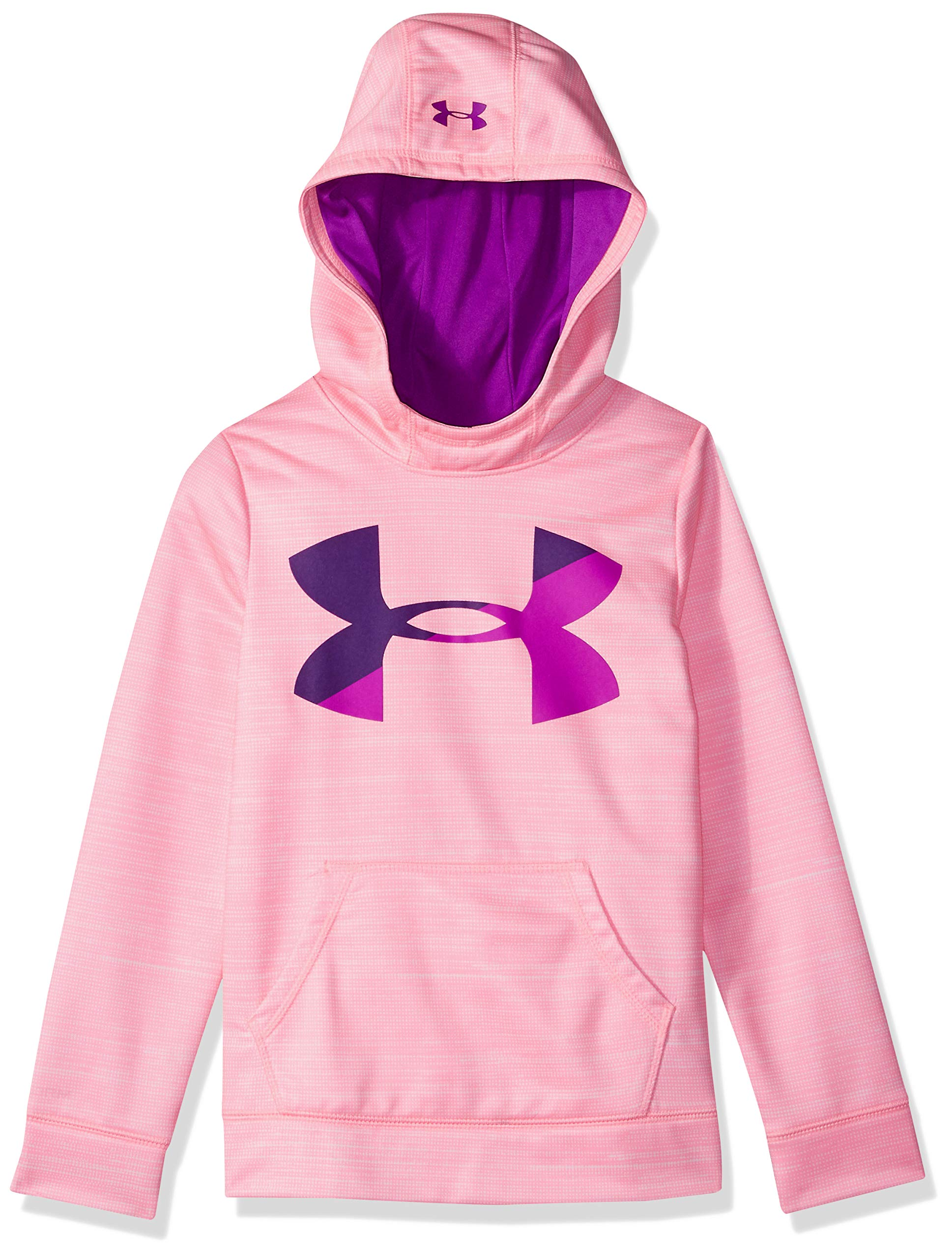 Under Armour Girls' Armour Fleece Big Logo Novelty Hoodie,Pop Pink /Purple Rave, Youth Small by Under Armour