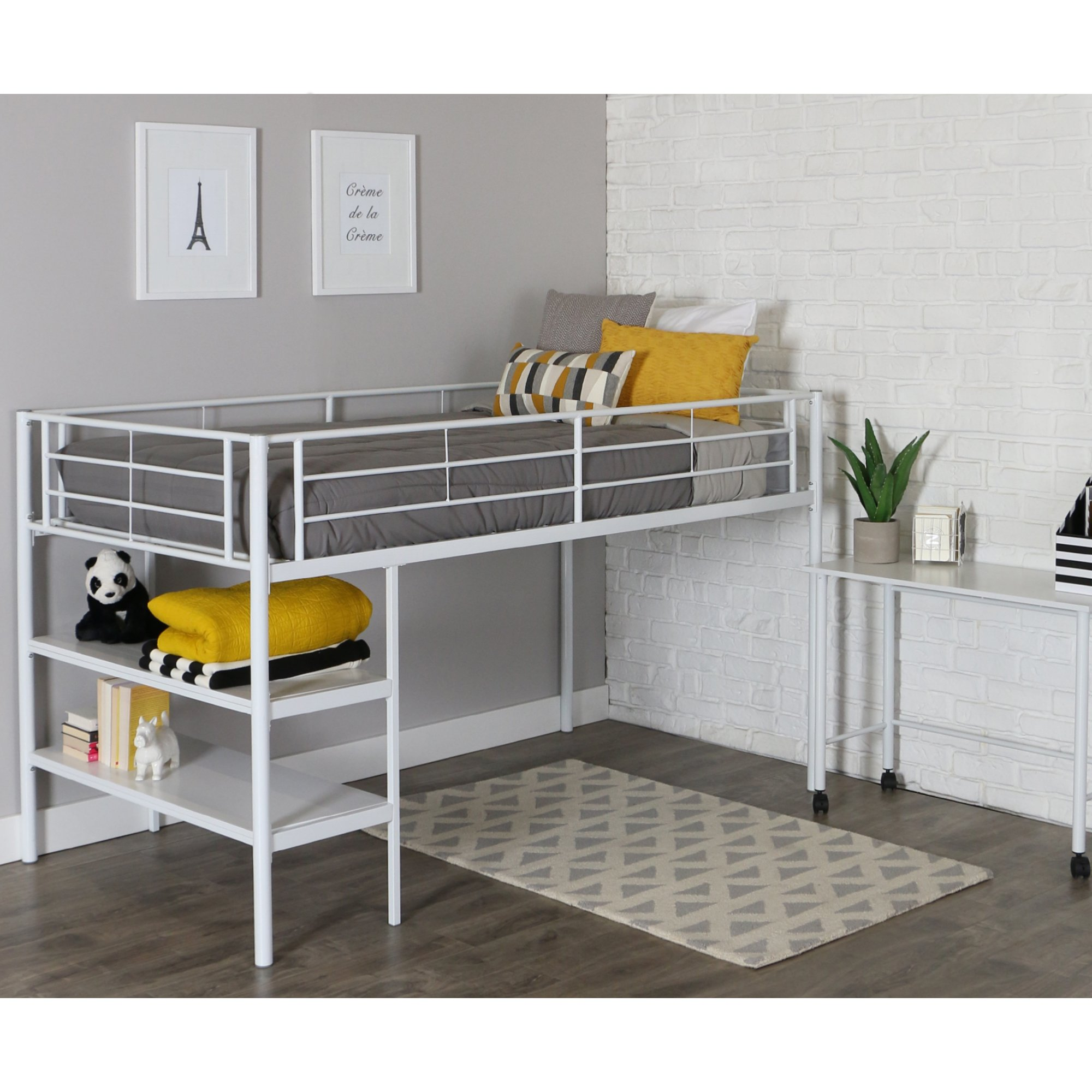 Chustro White Twin Low Loft Bed with Desk