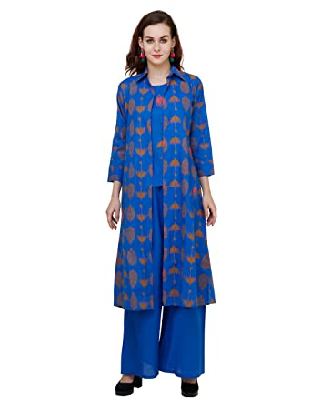 f25f3f05009 Aadhunik Libaas Women s Cotton Printed Kurta With Palazzo Pant Jacket Set   Amazon.in  Clothing   Accessories