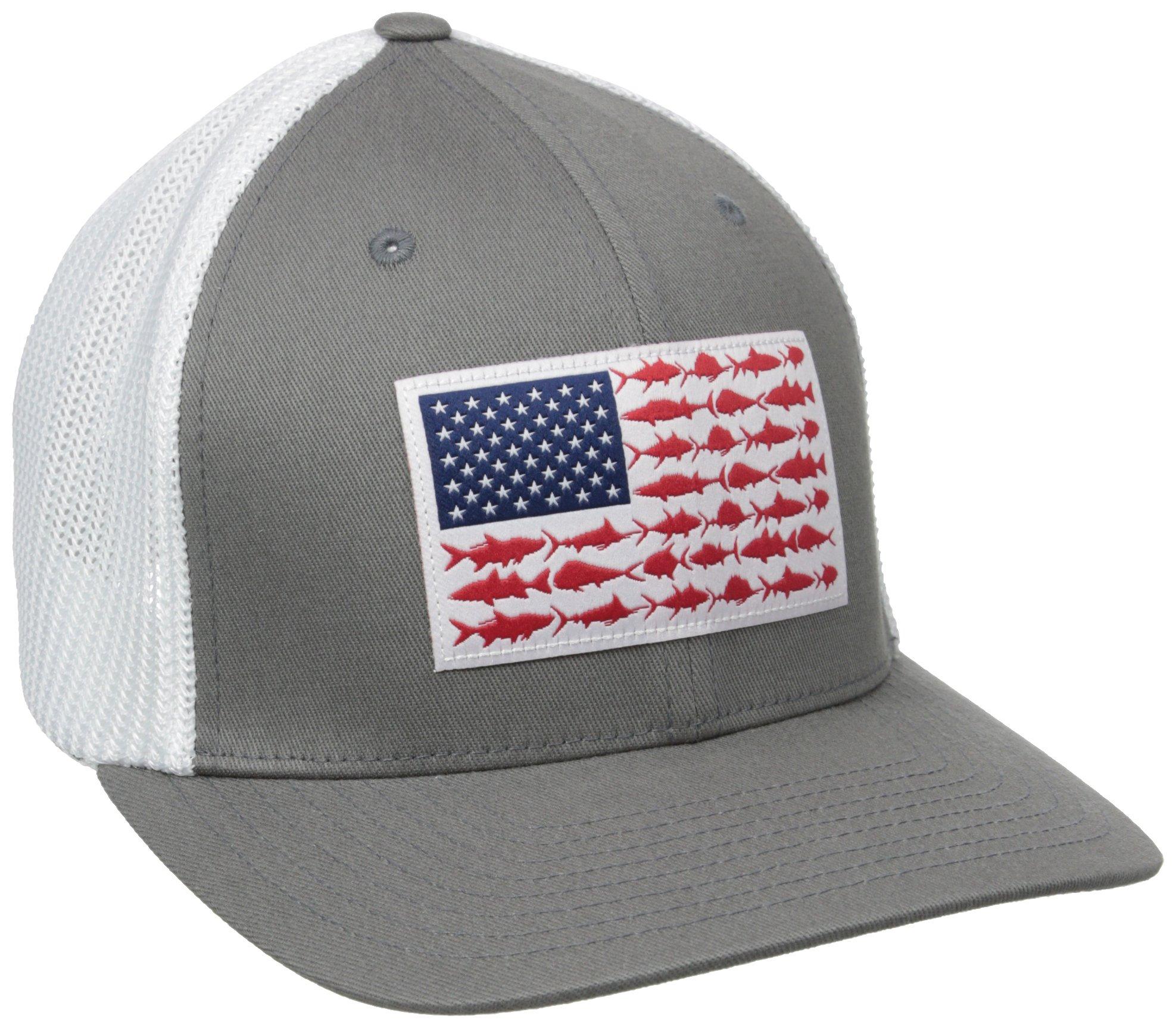 Columbia PFG Mesh Ball Cap, Titanium/Fish Flag, Large/X-Large