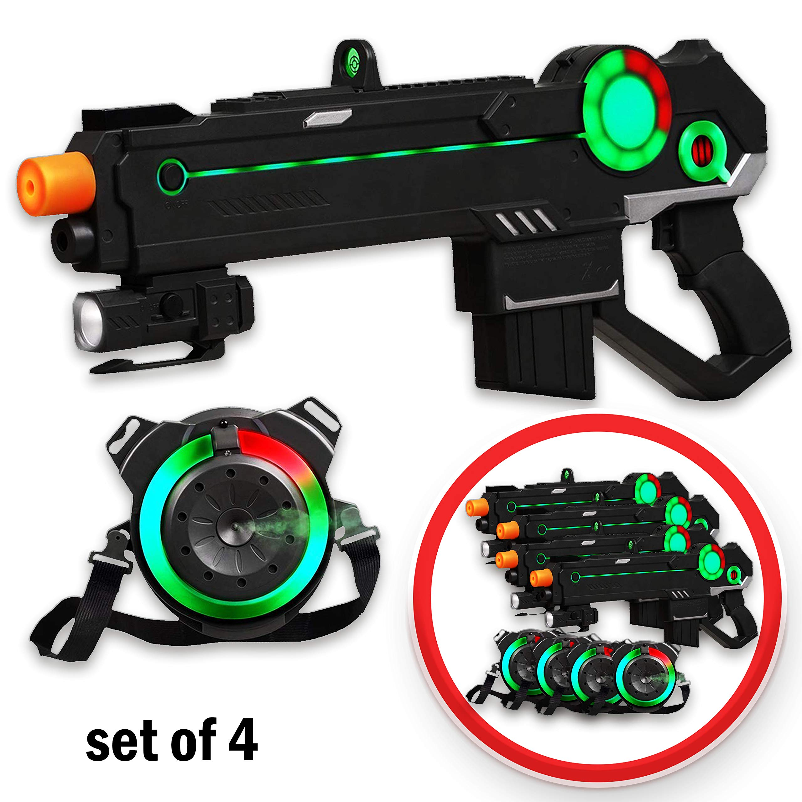 Ranger 1 Laser Tag Reality Gaming Kit with 4 Guns, 4 Vests, 225ft Shooting Range, Unique LED Heads-Up Display, World-First 100% Gun/Vest Synchronization, Smoke-Like Water Vapor Emitter, Built-To-Last- by Strike Pros