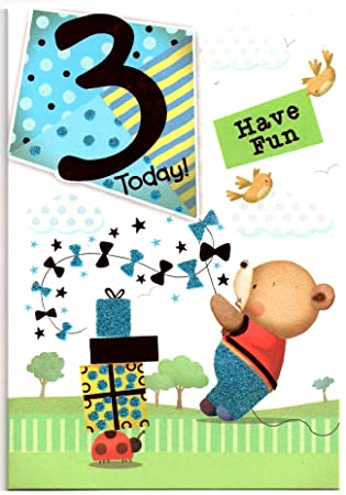 Birthday Card For Three 3 Year Old Boy Free 1st Class Post Uk