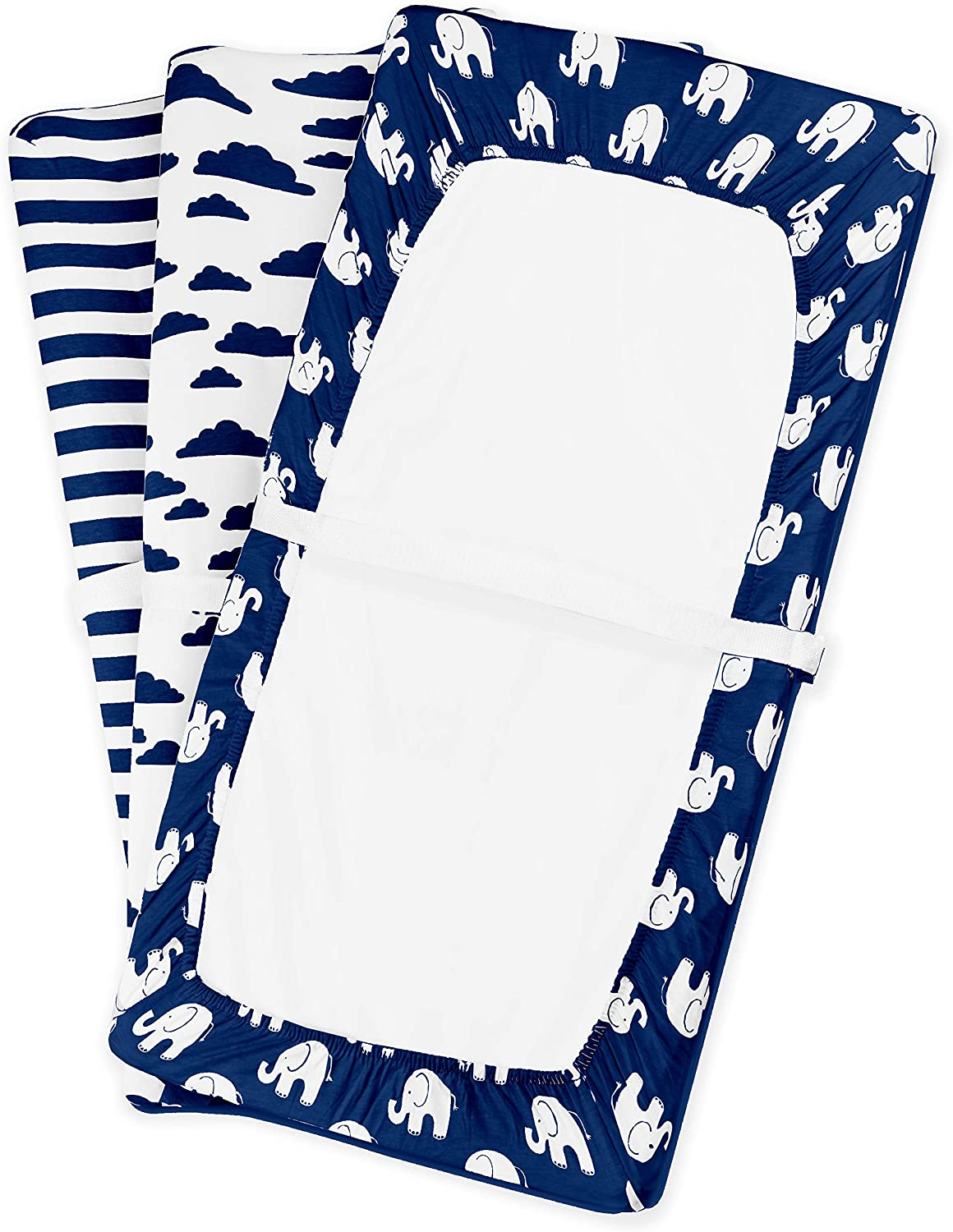 Navy Elephants Changing Pad Cover