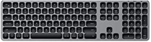 Satechi Aluminum Bluetooth Keyboard with Numeric Keypad - Compatible with iMac Pro/iMac, 2020/2018 Mac Mini, 2019 MacBook Pro, 2020 iPad Pro, 2012 & Newer Mac Devices (English, Space Gray)