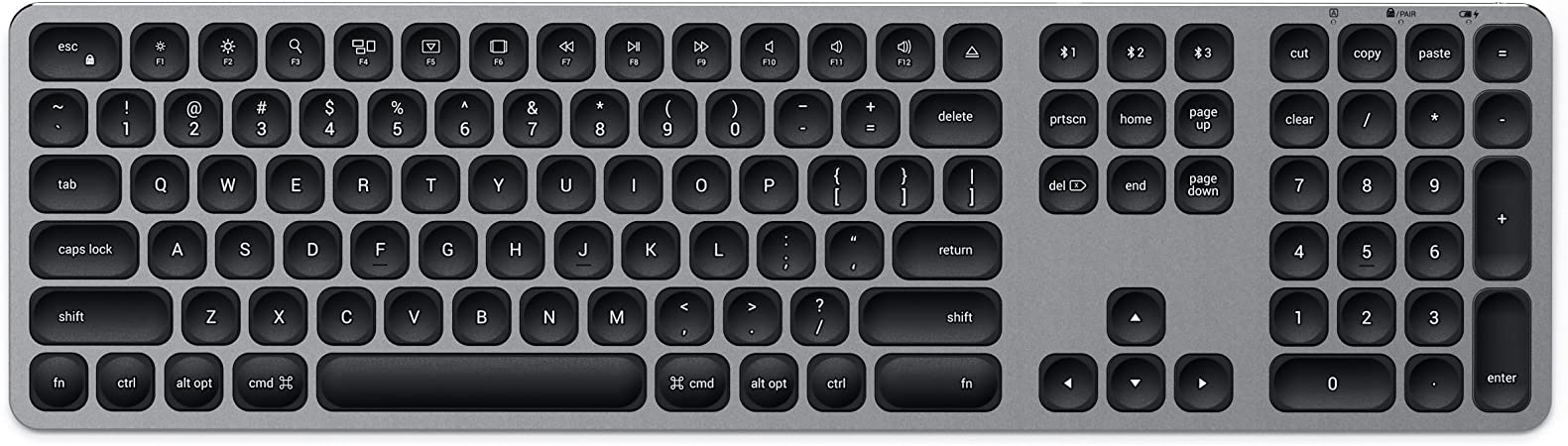 SATECHI Teclado Inalámbrico Bluetooth de Aluminio con Keypad Numérico - Compatible con iMac Pro/iMac, Mac Mini, 2020/2019/2018 MacBook Pro, 2020/2018 ...