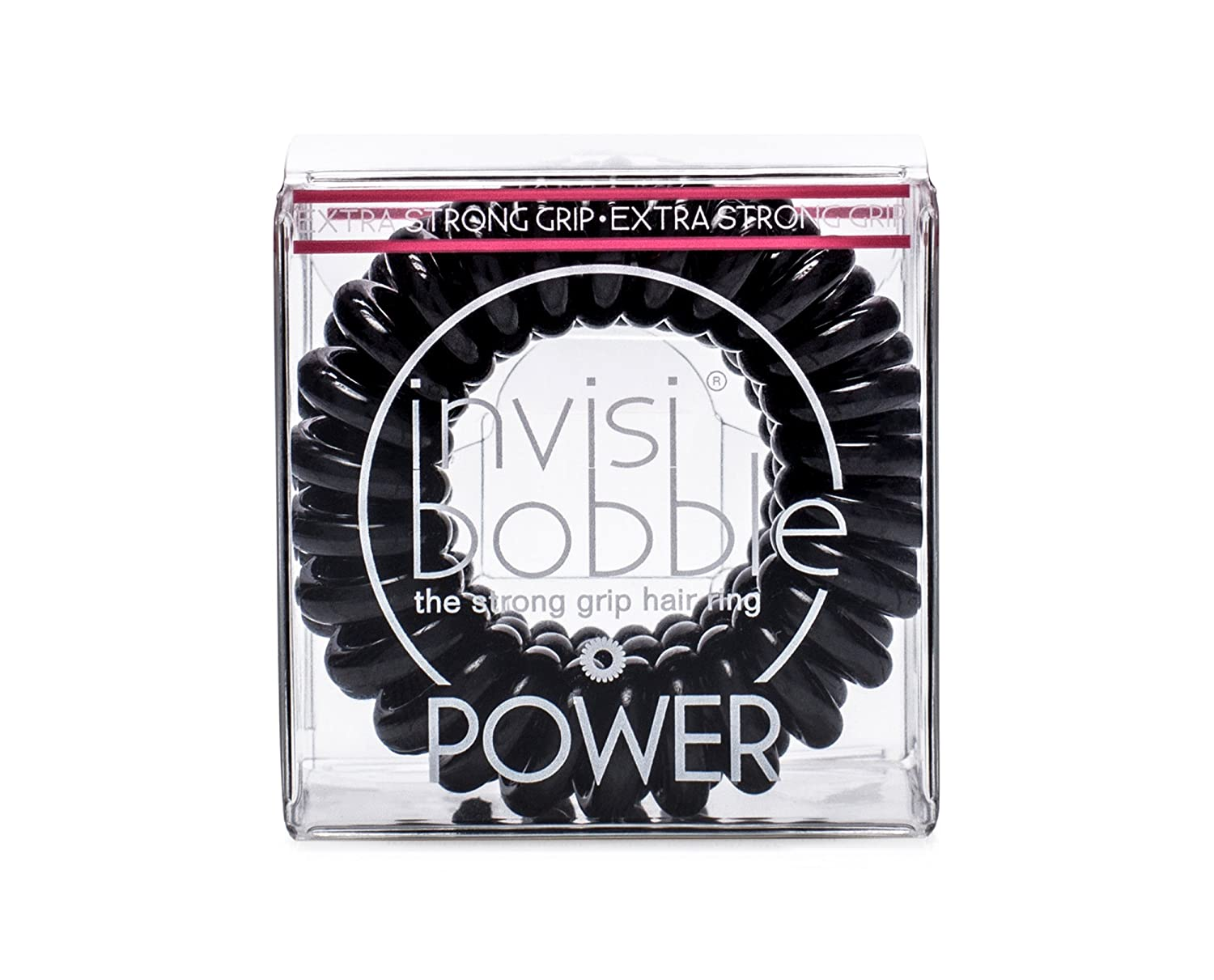 invisibobble POWER True Black, the spiral shaped strong grip hair ring, color: black, 3 hair ties per packaging invisibobble GmbH IB-PW-PC10001