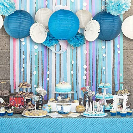 amazon com baby boy birthday party backdrop crepe streams paper