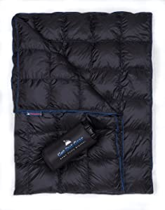Get Out Gear Down Camping Blanket - Puffy, Packable, Lightweight and Warm   Ideal for Outdoors, Travel, Stadium, Festivals, Beach, Hammock   650 Fill Power Water-Resistant Backpacking Quilt