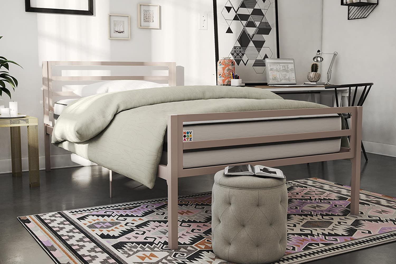 Novogratz Maxwell Metal Bed, Modern Style and Sturdy Bed Frame, Twin, Pink