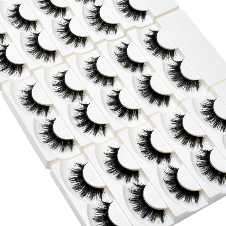 Wleec Beauty Full Thick False Eyelash Pack Handmade Eyelashes Set Long Strip Lashes #36 (15 Pairs/3 Pack)
