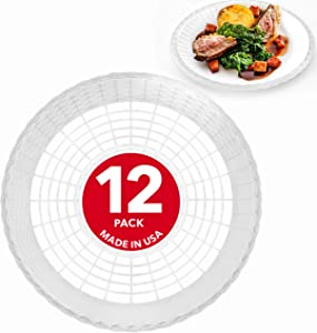 """Stock Your Home 9"""" Paper Plate Holder in White (12 Count) - Paper Plate Holders Plastic Heavy Duty - Plastic Paper Plate Holder - Woven Paper Plate Holder - Paper Plate Holders Reusable"""