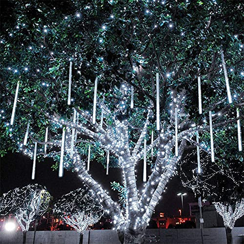 Meteor Shower Lights Christmas Lights Waterproof Plug in Falling Rain Fairy String Lights for Twinkling Romantic Lights for Party Wedding Christmas Halloween 8 Tubes 19.7 inch White