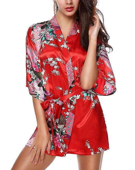 Bata De Mujer Kimono Chemise Satén Pavo Corto Real con Y Flores Chic Ropa Bata De Baño Pijama: Amazon.es: Ropa y accesorios