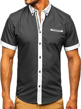 BOLF Hombre Camisa De Manga Corta Abotonada Cuello Americano Camisa de Algodón Slim Fit Estilo Casual 2B2: Amazon.es: Ropa y accesorios