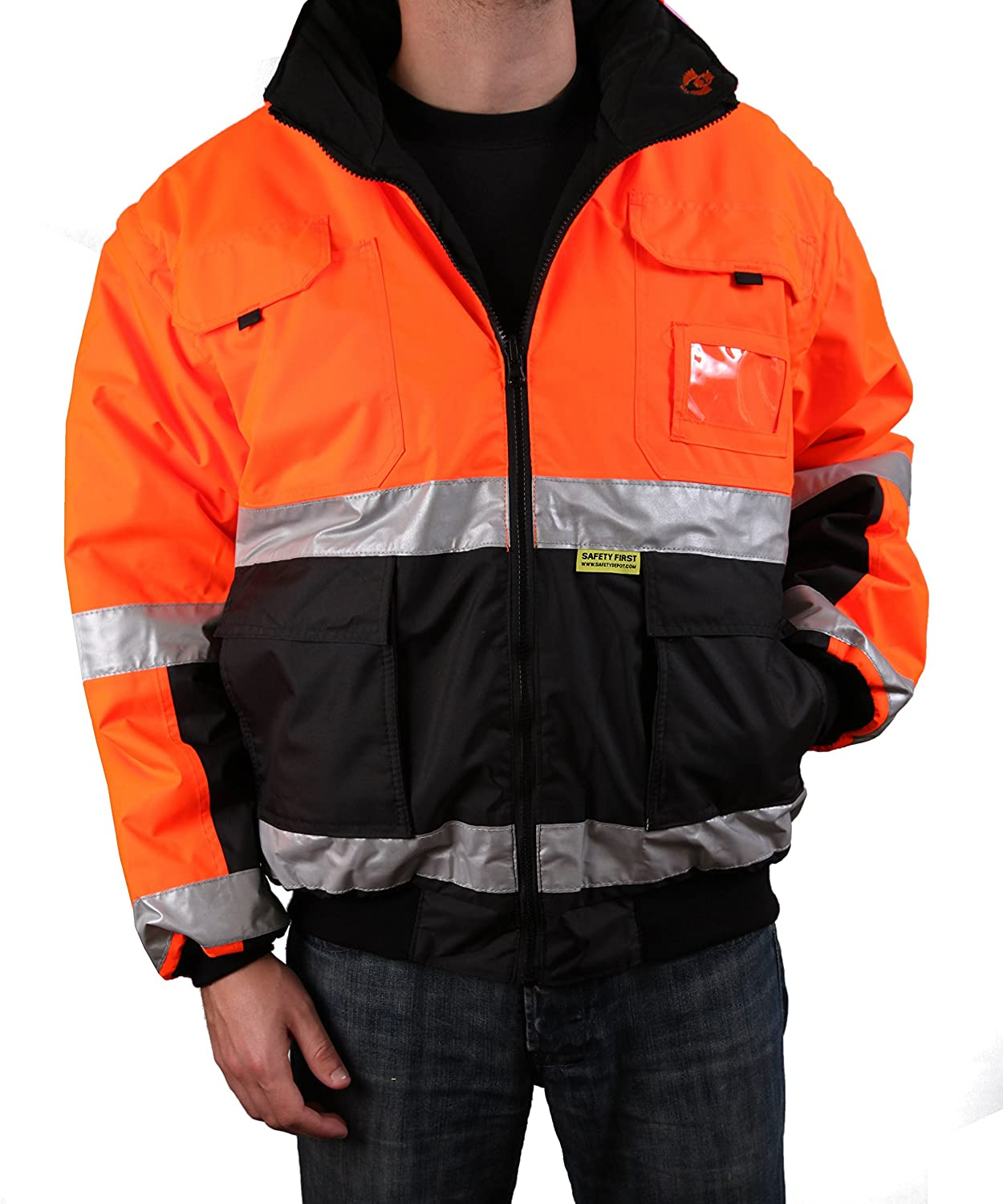 Safety Depot Two Tone Lime Yellow Black Reflective Class 3 Safety Bomber Jacket Reversible With Zipper and Pockets 350c-3 (Extra Large) 2W