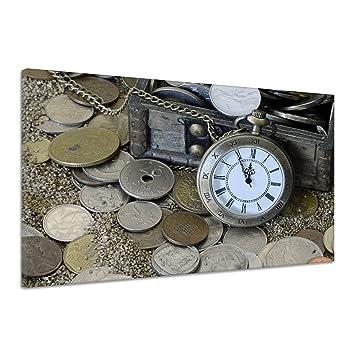 Antiguo reloj Cofre del Tesoro Antiguas Monedas Retro lienzo Póster Impresión de cc0184, lona,