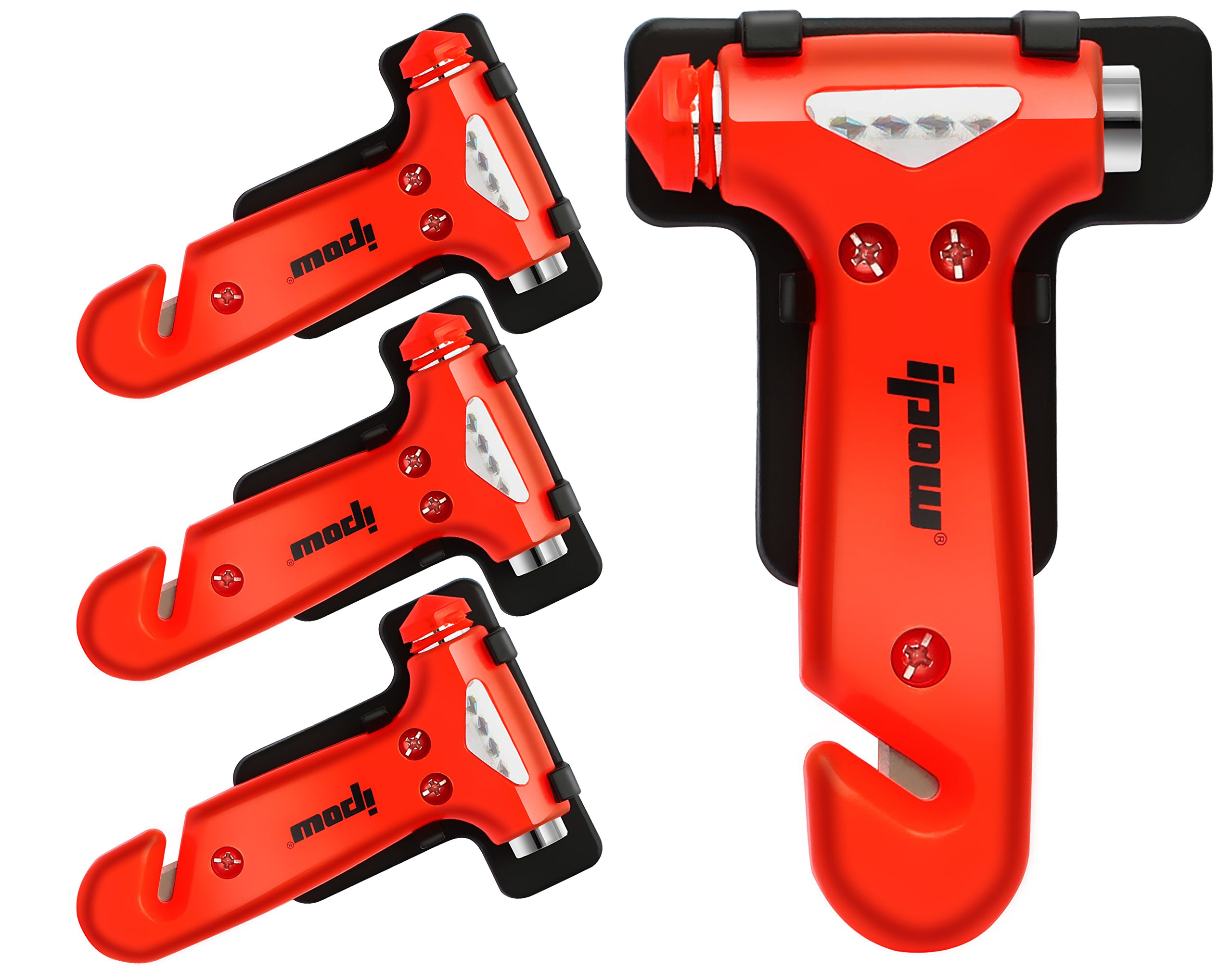 4 PCS of IPOW Car Safety Antiskid Hammer Seatbelt Cutter Emergency Class/Window Punch Breaker Auto Rescue Disaster Escape Life-Saving Hammer Tool,Small by IPOW