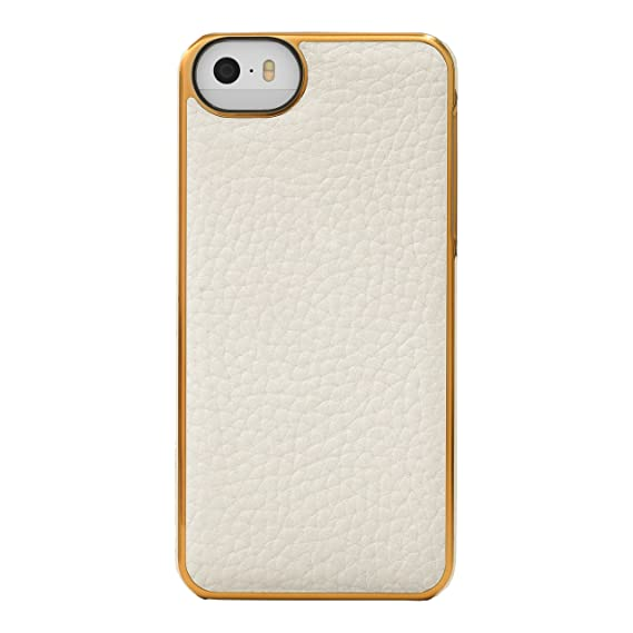 check out 2d5b4 48beb Adopted Leather Cell Phone Case for Apple iPhone 5/5S - Retail Packaging -  White/Gold