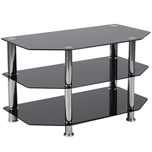 Flash Furniture North Beach Black Glass TV Stand with Stainless Steel Metal Frame, HG-112457-GG
