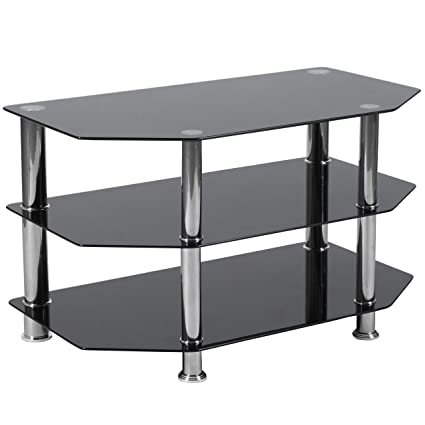 Amazoncom Flash Furniture North Beach Black Glass Tv Stand With