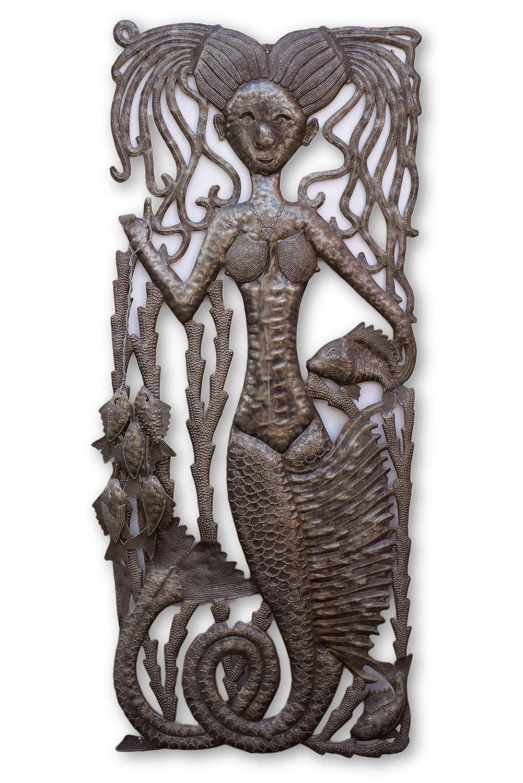 Handmade in Haiti 18 x 34 Deep Sea Life Lobster Haitian Indoor or Outdoor Decor Shells Fish Sea Life Wall Hanging Art Ocean Beach Theme Decorative Art Crab Coral Mermaids