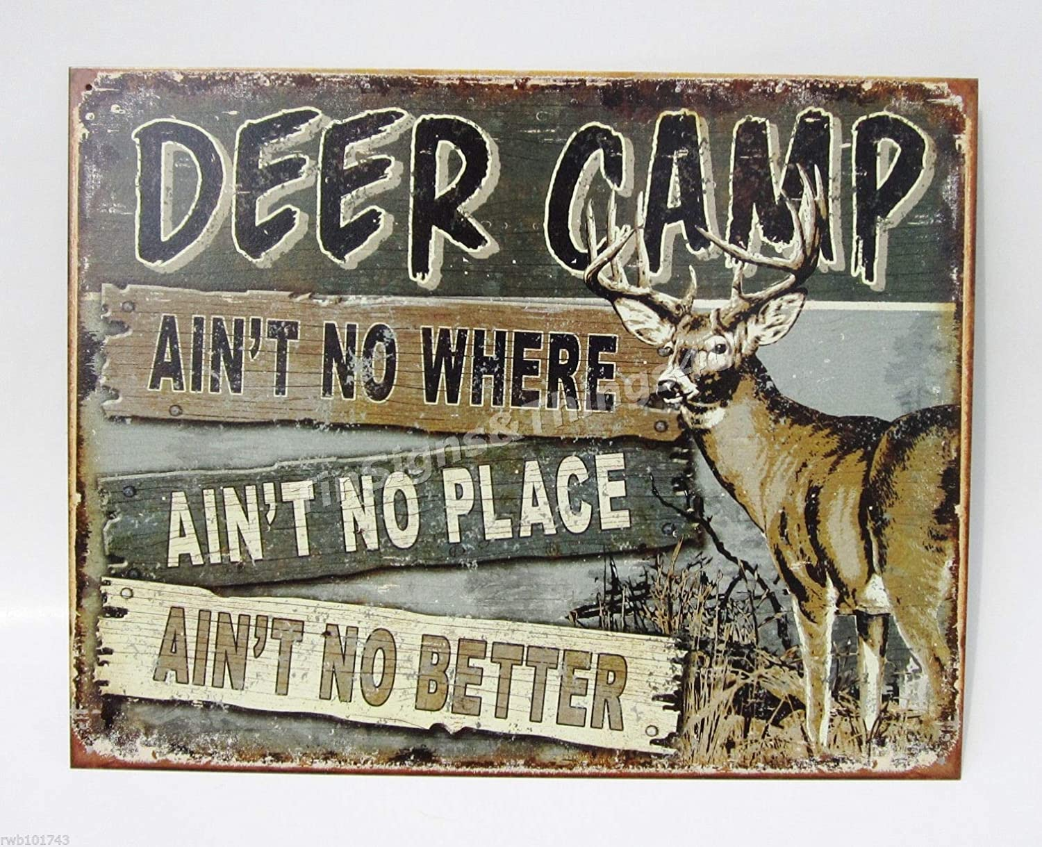 Rustic Buck Lighted Hunting Sign Decor New