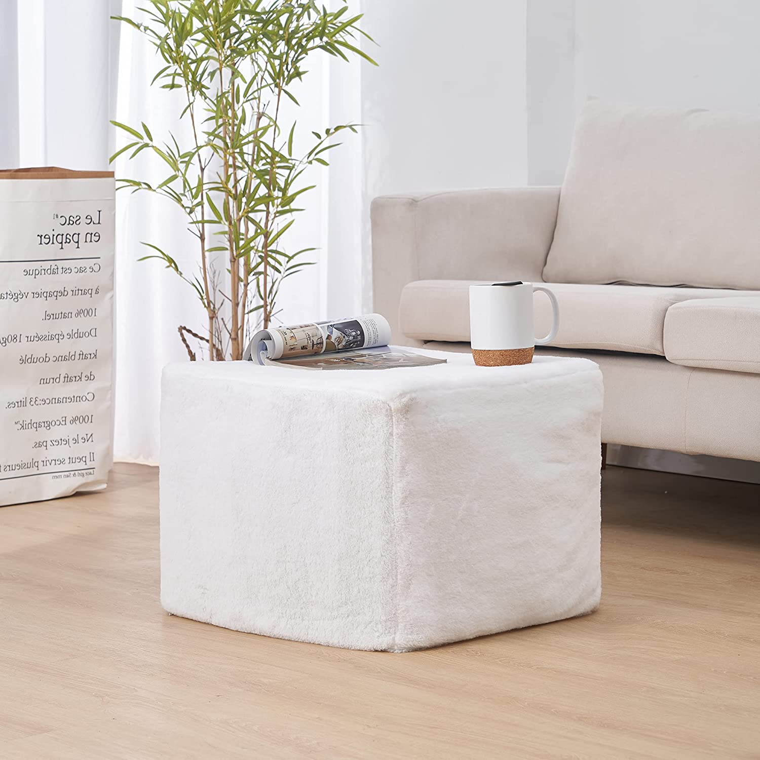 Faux Fur Unstuffed Pouf Ottoman Cover Square White | Large Fuzzy Storage Bean Bag Ottoman Pouf Foot Rest / Stool Cube | Floor Cushion Seat | Storage Poofs for Living Room & Bedroom | Cover ONLY